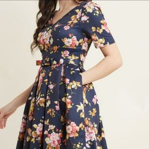 ModCloth Navy Floral Fit and Flare Dress